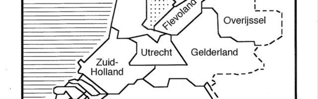 Aardrijkskunde kaart Nederland met provincies in zwarte lijnen