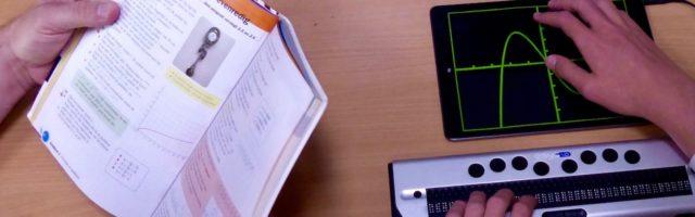 Wiskundeboek, grafiek en brailleleesregel