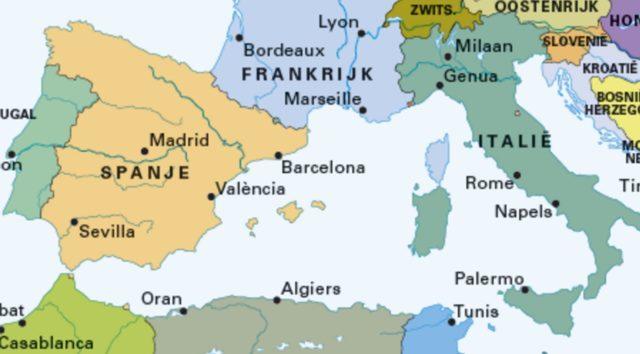 Kaart Middenlandszeegebied