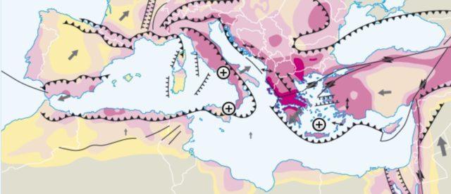 Aardbevingsrisicogebieden met de plaatgrenzen
