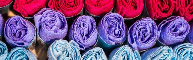 handvaardigheid gekleurde rollen stof