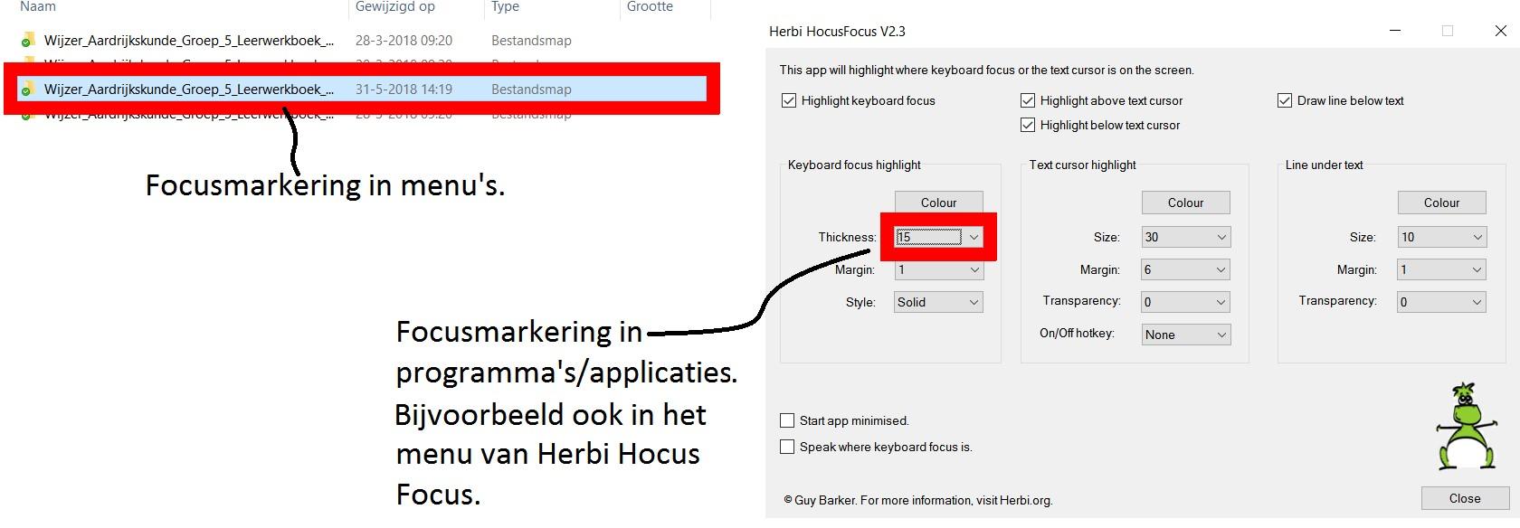 uitleg dialoogvenster Herbi HocusFocus